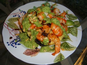 Pesto Shrimp on Polenta Portobellos ©Diane Ebiln