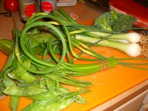 garlic scapes, spring onions, snow peas, bok choy, broccoli