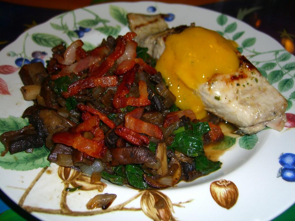 spinach-mushroom-bacon