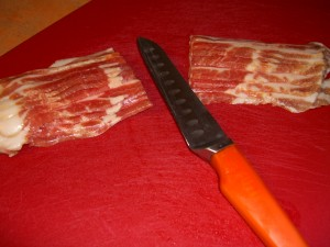 Bacon cut in half step 1 of small bacon weave