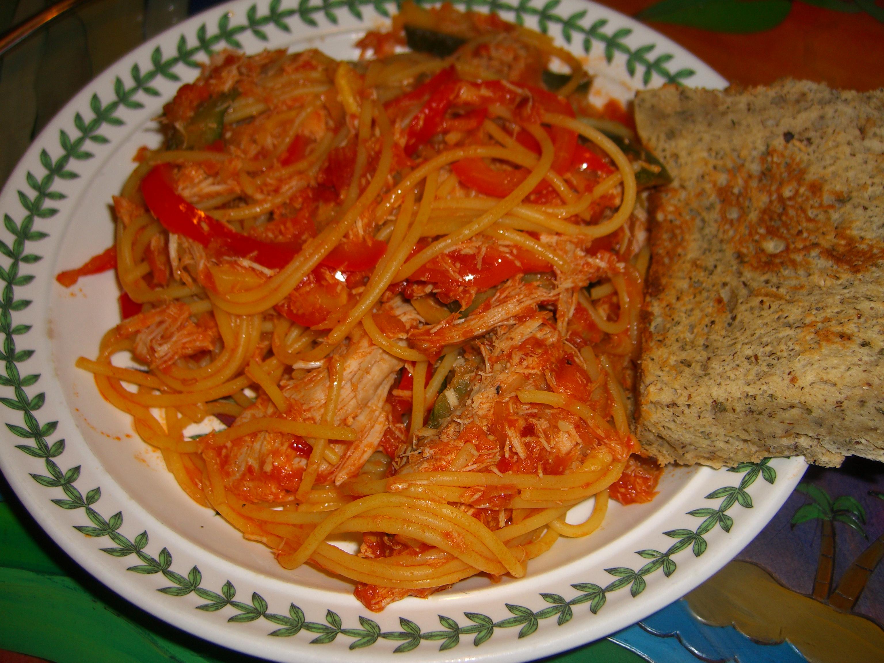 pork and vegetable spaghetti arrabiata recipe