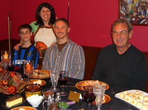 Thanksgiving 2007 Brad (son), Diane (me), Adam (nephew-in-law), Bill (dad)