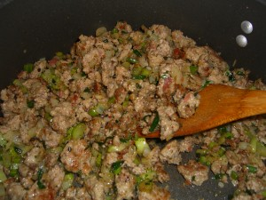 sausage, celery, onion, seasoning