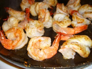 shrimp cooked and opening