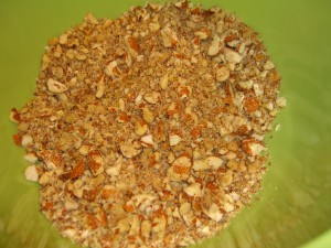 Chopped nuts in bowl
