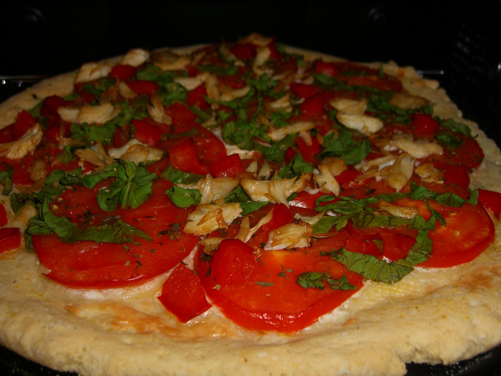 Easy Gluten Free and Dairy Free Crabby Veg Pizza Recipe