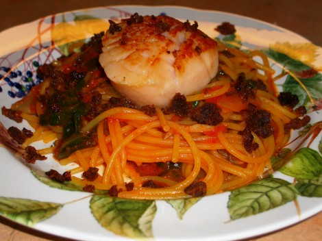 Scallop Pasta with Chorizo Recipe