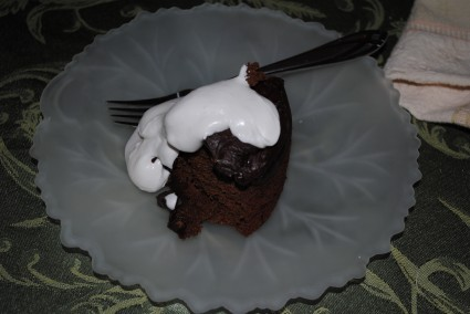 Double Chocolate Clementine Vita-mix Cake with Whipped Cream (coconut milk)