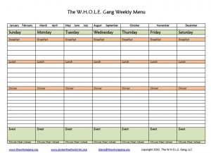 Monthly Menu Plan- November 2010