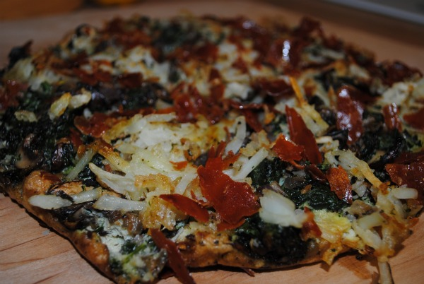 Skinny Frittata with Mushrooms, Spinach, Garlic, Potato and a Touch of Prosciutto
