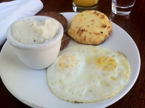 Eggs, Biscuit, Fried Green Tomatoes, and Grits
